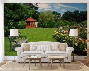 Green yard wall mural, self adhesive photo mural
