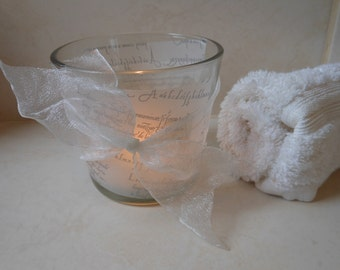 ON SALE!* Tealight or Votive Holder. Glass Candle Holder, Hand decorated with Parchment and Voile ribbon bow.