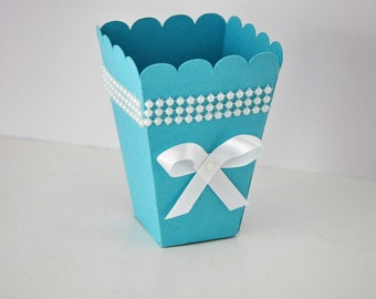 Popcorn or Candy Favor Box Robins Egg Blue- Great for Bridal Showers, Baby Showers, Engagements, Birthday Parties.  Set of 10