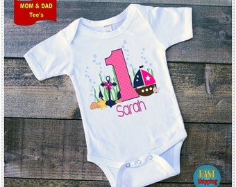 Pink and Navy Girl's Nautical Birthday Tee Shirt or Bodysuit; Bodysuit size 6-24 Month;Tee 2T and up;Mom and Dad Tee's Aval;
