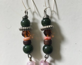 Handmade earrings made from recycled materials