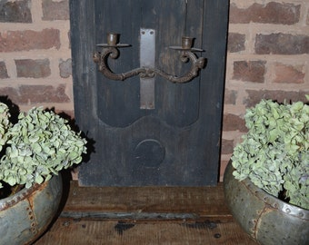 Bespoke Wall Panel with Iron Candle Holder