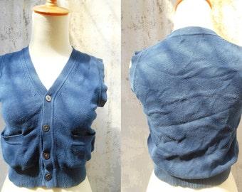 Vintage Navy Blue Cardigan Vest