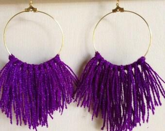 Purple Fringe Hoops