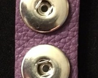 New Purple Leather Interchangeable Snap Key Chain - Add your own 18mm or 20mm Snaps