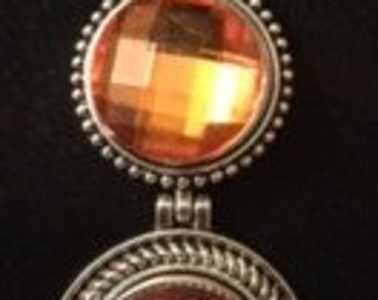 """Two Shiny Orange Faucet Snaps on a Double Drop Down Interchangeable Snap Necklace ~ 20"""" long"""