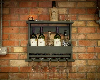 Wine Rack Wall Mounted 5 Bottles / Glasses with Top Shelf