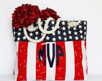 4th of July Flag Tote | Personalized