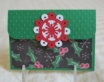 Christmas Pop-Up Gift Card Holder - Winter Holly