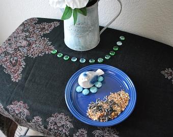 Recycled Garden Art - Blue Plate Bird Feeder with Bird Ornament