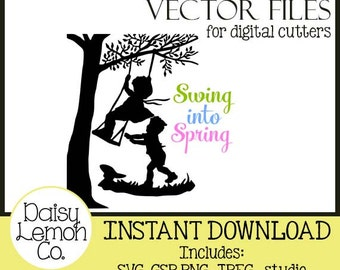 Vector File, Spring, Girl, Boy Silhouette, Children, Playing, SVG,