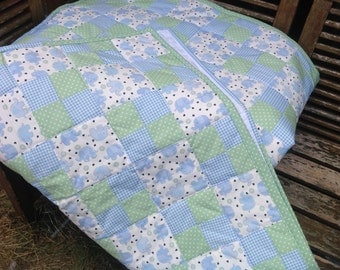 Handmade cot/cotbed quilted throw 120cm-100cm boys baby elephants, gingham and diddy dots new