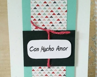Love card - Spanish, triangles
