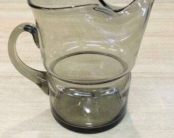 Vintage Mid Century Vintage Retro Smoky Grey Glass Jug