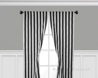 Black And White Stripe Curtain Panels Window Treatments Black Stripe  Curtains Custom Drapery Modern Decor Drapes