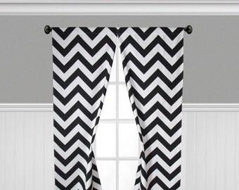 Black and White Curtains Chevron Window Treatments Stripe Curtain Panels Drapery Custom Drapes Living Room Decor