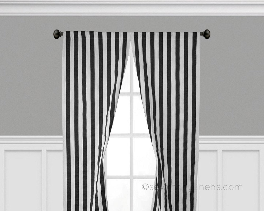 black and white stripe curtain panels window by sewmanylinens. Black Bedroom Furniture Sets. Home Design Ideas