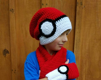 Crochet Pokemon Pokeball Hat, Pokeball Fingerless Gloves, Pokeball Scarf, Texting Gloves, Crochet Pokemon Accessories, Pokemon Clothing