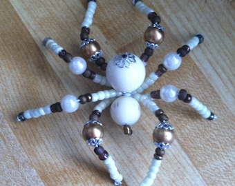 White and Gold Beaded Spider