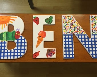 The VERY HUNGRY CATERPILLAR Hand-Painted Wooden Letters for Kids Room