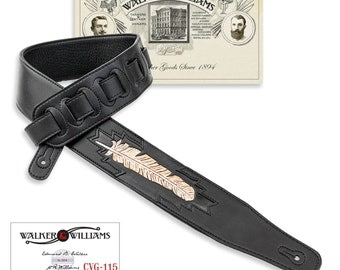 Walker & Williams Black Leather Padded Guitar Strap Hand Tooled Feather CVG-115