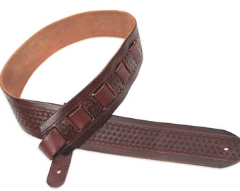 Mahogany Brown Tooled Basket Weave Carving Leather Guitar Strap SP-43