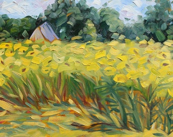 """Yellow Sunflower Impressionist  painting 16"""" x 12"""" original oil painting on canvas Dukes Farms, New Jersey, Laurie Rubinetti"""