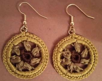 Small Crochet Diana Earrings -Brown and Olive Blend