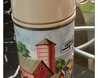 Vintage  1962 King Seeley Metal Thermos PETS  PALS FARM