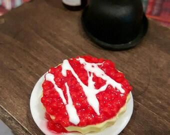 Cherry cream flan