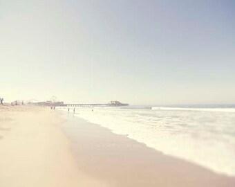 beach photography, Santa Monica, summer, ocean, seaside, beach decor, print, nursery decor, love, pier