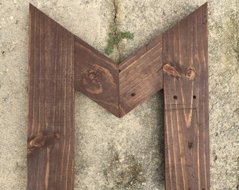 Wooden Letter M, Handmade from Rustic Salvaged Wood