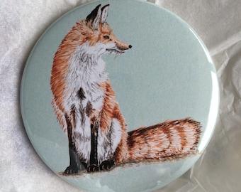 Sitting Fox pocket mirror
