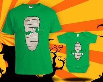 T-Rex Halloween matching shirts- parent-child matching halloween costumes, dinosaur halloween costumes, t-rex costume, bodysuit -CCB-227-228