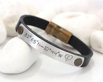 EXPRESS SHIPPING Custom Coordinates Bracelet ,Men's personalized bracelet, Mens leather bracelet, Custom Personalized Bracelet, Gift for him