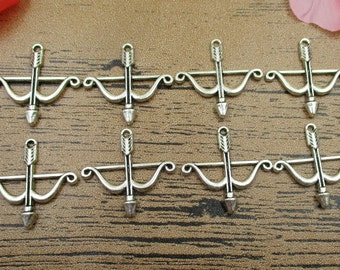 20 Bow And Arrow Charms, Antique Silver Tone-RS236