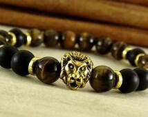 mens bead bracelet lion bracelet gift gold lion bracelet tiger eye bracelet mens groomsmen gift for groomsmen leo bracelet for leo mens gift