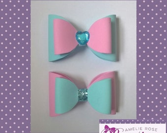 Powder pink and blue bow