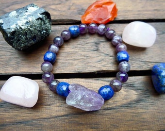 Lapis Lazuli with Amethyst and Amethyst Chunks