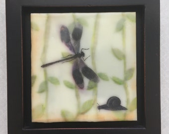 The dragonfly and the snail, encaustic beeswax painting, original painting