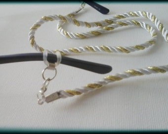 Glasses necklace silver and gold cord, Glasses cord chic, Chique glasses cord, Glasses necklace,  gold and white satin cord
