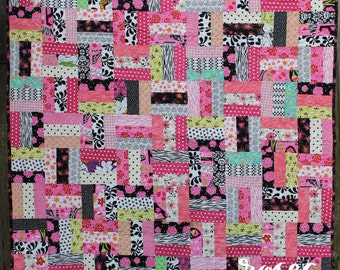 Pink and Black Rail Fence Quilt