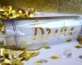 16 Oz BRIDE Skinny Acrylic Tumbler Bride Custom Bridal Party Favors Shower Bachelorette Wedding Engagement Party Shower Birthday Gold