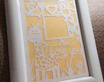 GIRAFFE Photo Frame, Paper Cut, SVG  File for cutting machines