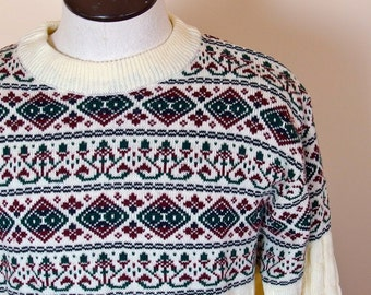 Mens Vintage Ski Sweater Crew Neck