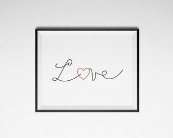 posters, digital printing, minimalist, Scandinavian design, printable poster, love poster