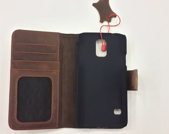 Genuine leather S5 Bookcase Magnet Close Flip Cover Folio Case Book Case Wallet Case Brown