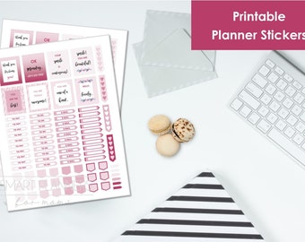 "Printable planner Stickers, Burgundy color. US Letter Size (8.5""x11""), Portrait. To do digital stickers. Instant download."