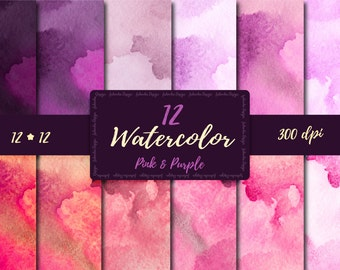 Watercolor Digital Paper  Pink Purple watercolor  digital paper Watercolor scrapbooking paper set Watercolor Background Watercolor texture