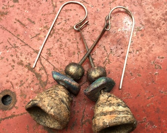 rustic primitive earthy stoneware/clay beads earrings...natural, hippie,organic, dangles, simple #205